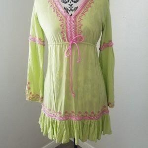   Boho Moda Int'l Embroidered Tunic Dress 